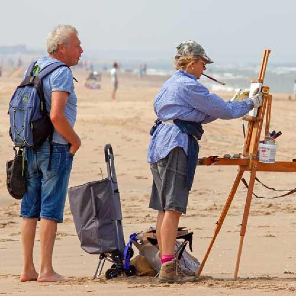 schildercursus op het strand Domburg
